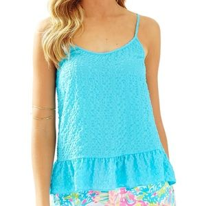 Lilly Pulitzer Coral Blue Peplum Tank (S)